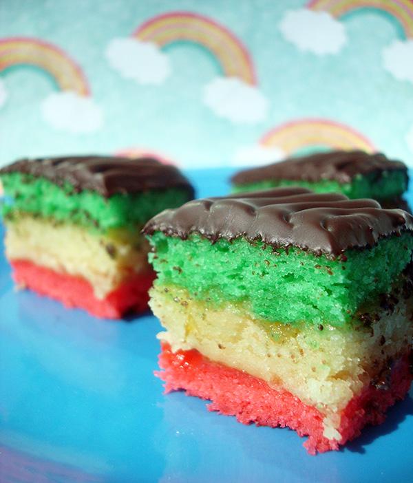 Rainbow cookies with rainbow background