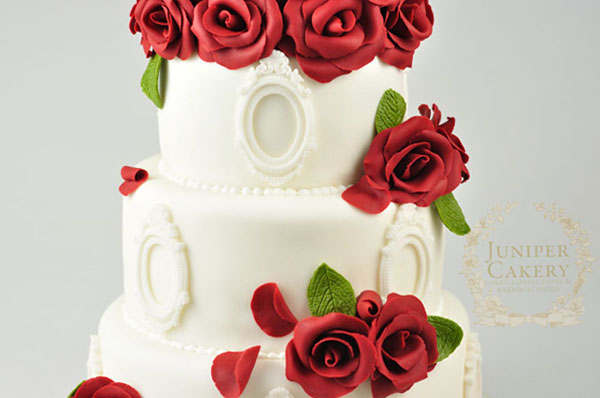 White Cake With Red Roses and Piped Pearl Borders