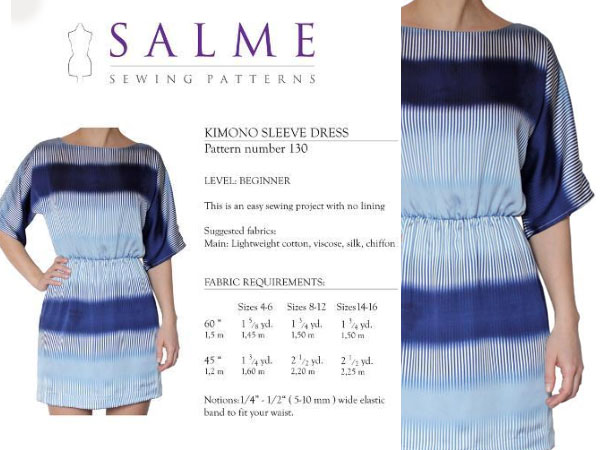 Kimono-Sleeve Dress Sewing Pattern