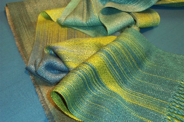 Scarf woven from hand painted rayon warp