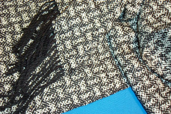 Silk scarf woven from black cultivated silk for warp and white silk noil for weft
