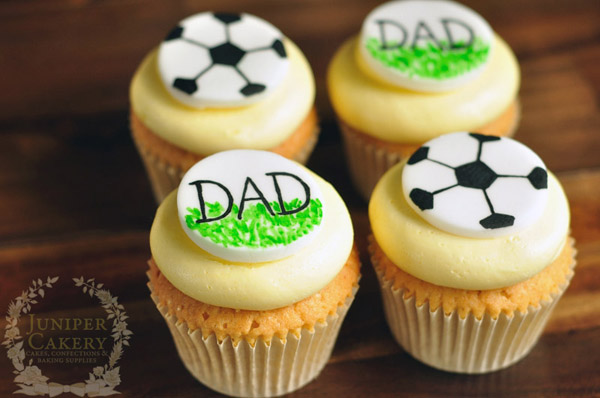 Hand-painted father's day soccer cupcakes