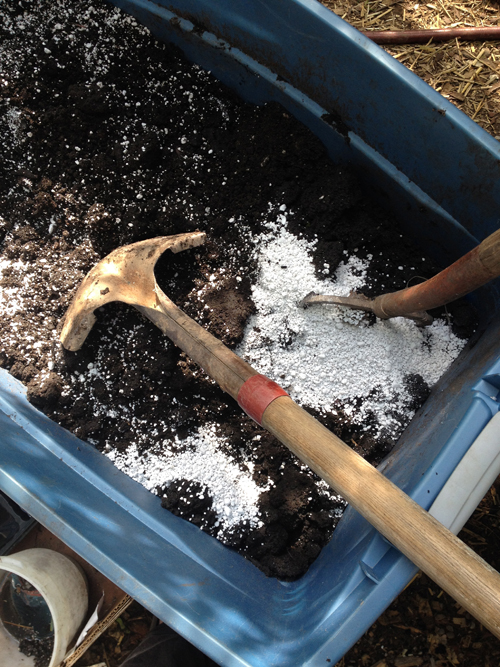 Mixing potting soil in a bucket