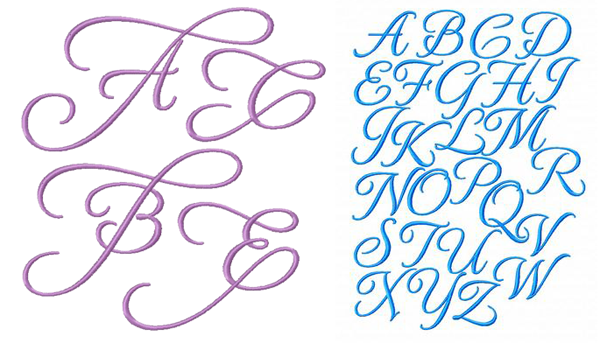 Swirls and Curls embroidery font