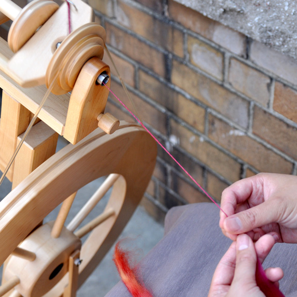 Spun yarn on a Spinning Wheel