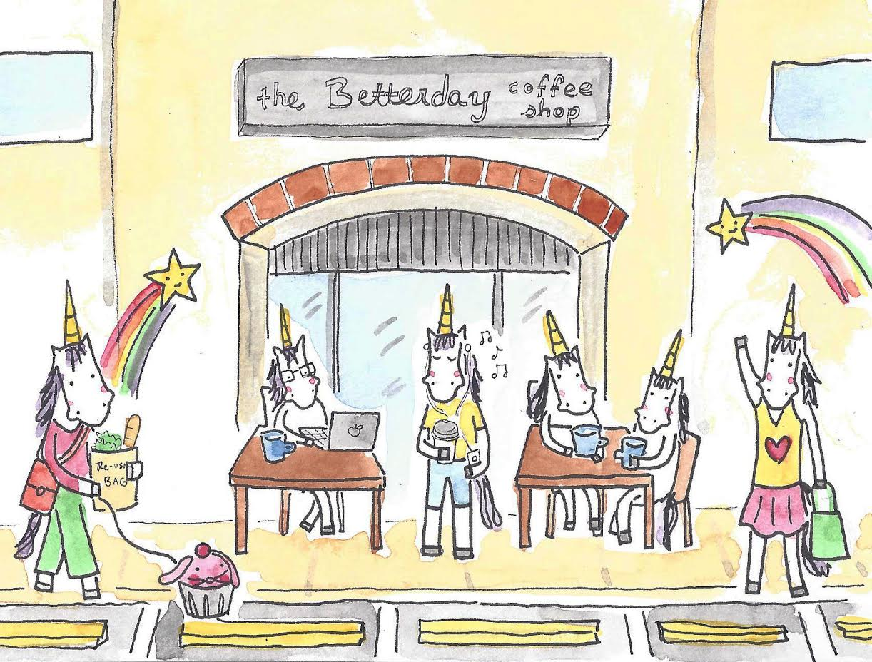Unicorns at a coffee shop illustration
