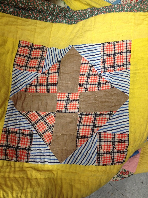 vintage quilt block with plaid