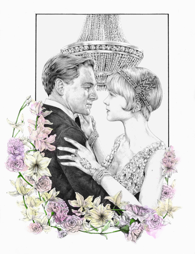 Great Gatsby drawing surrounded by floral desing