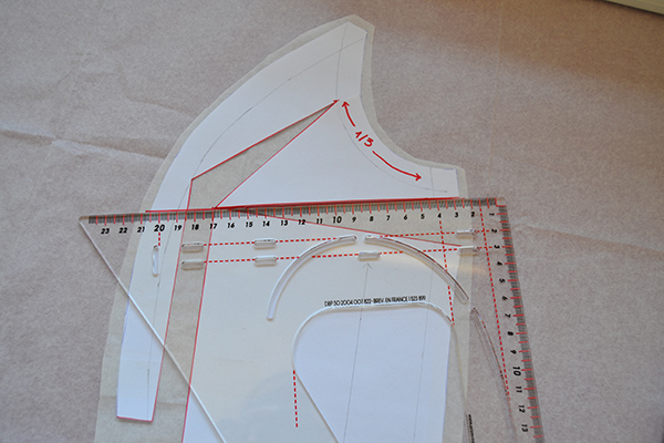 Draw line extending from the princess seam