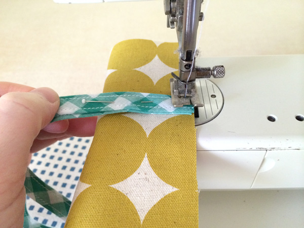 stitch bias tape in place