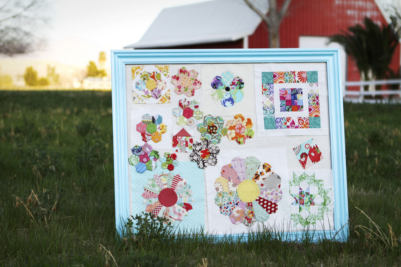 Quilting inspiration board with patchwork blocks