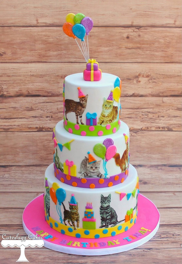 Neon Kitten Birthday Cake