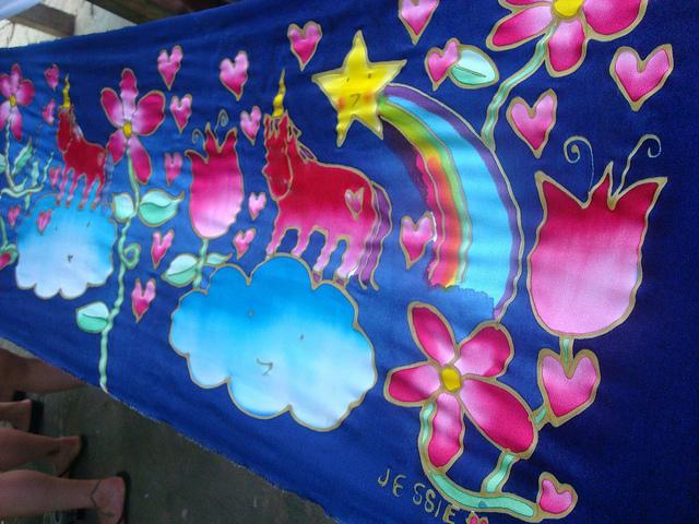 Batik with watercolor dye