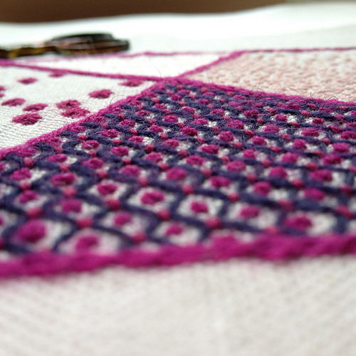 purple and pink crewel embroidery filling stitches