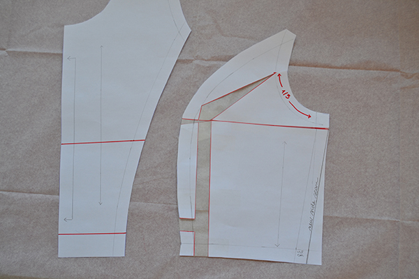 """Taking 1"""" in at the side seam of FBA pattern piece"""