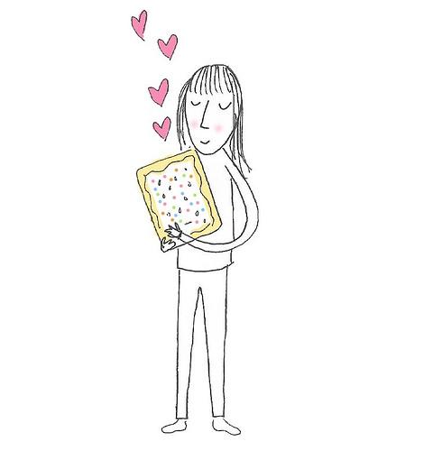Girl hugging an adorable sprinkled pop tart