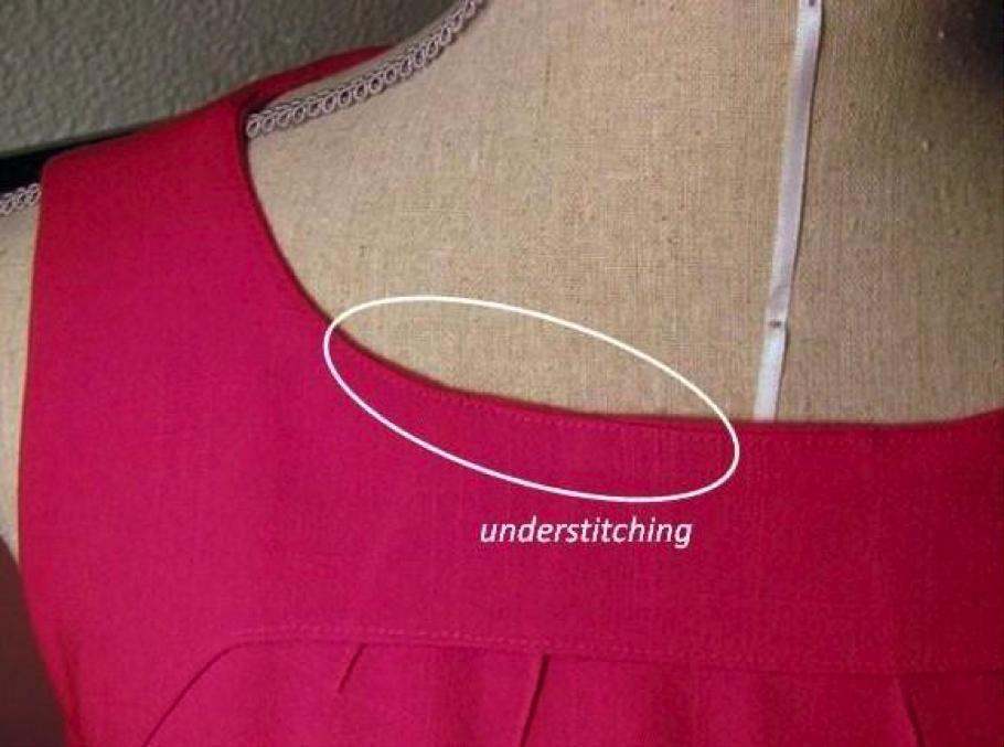 Understitching on a red dress on Bluprint!