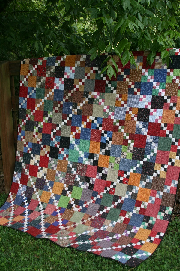 triple four patch quilt made from four patch exchange