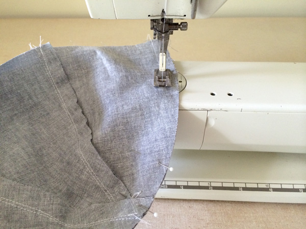 sew top curve of lining