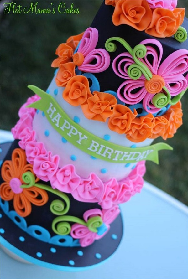 Neon Quill Cake