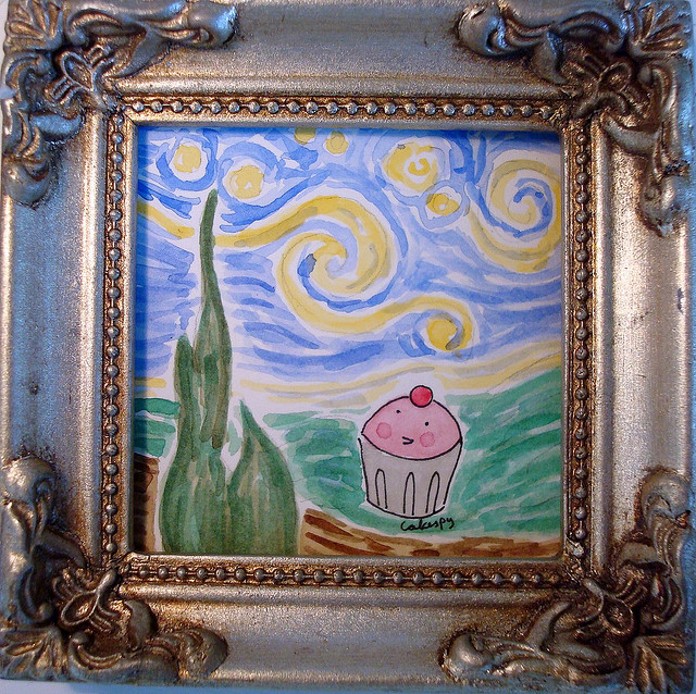 "cupcake ""Starry Night"" rendition"
