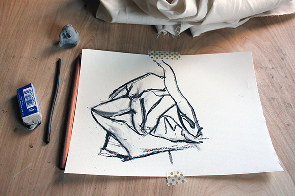 outline of the drawing charcoal