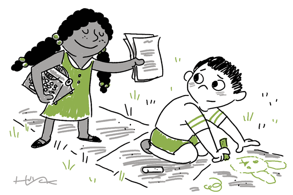A girl brings her manuscript to her pal for illustrations.