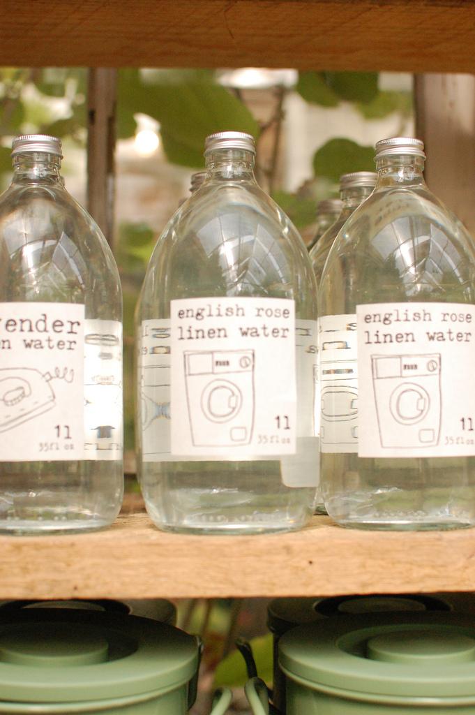 Glass Bottles of English Rose Linen Water