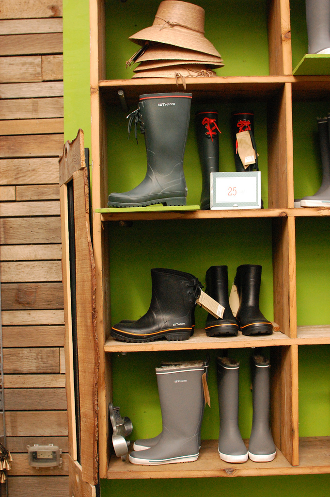 Gardening Boots and Hats on Display