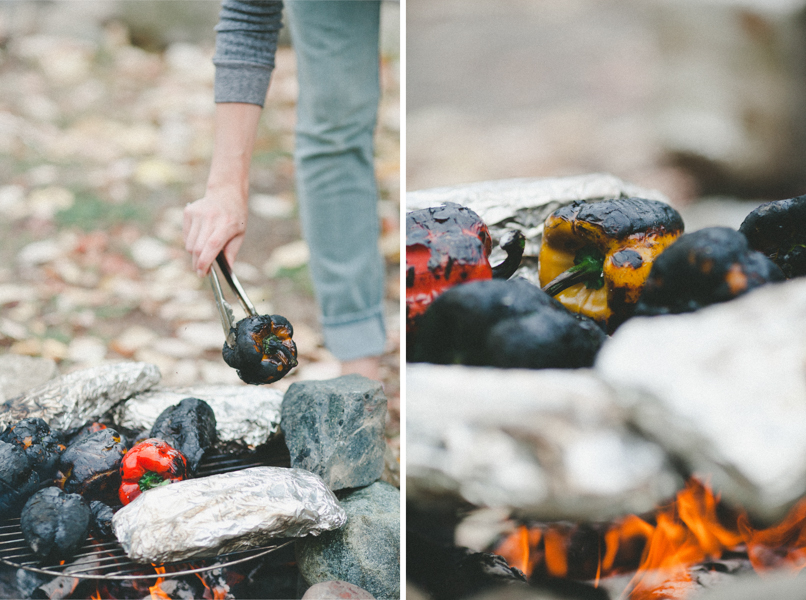 Cooking peppers over the campfire