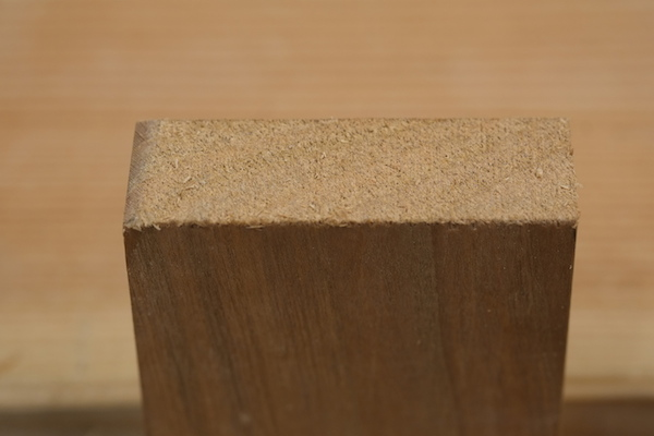 Chamfer to prevent end grain blow out