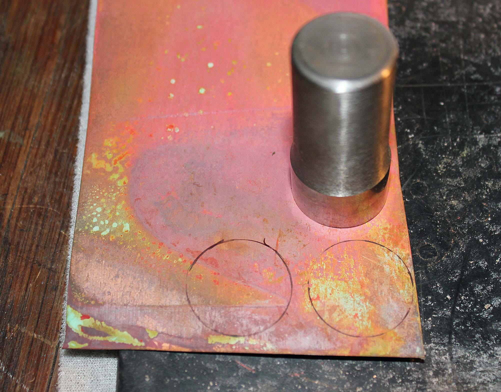 Circles drawn onto copper sheet