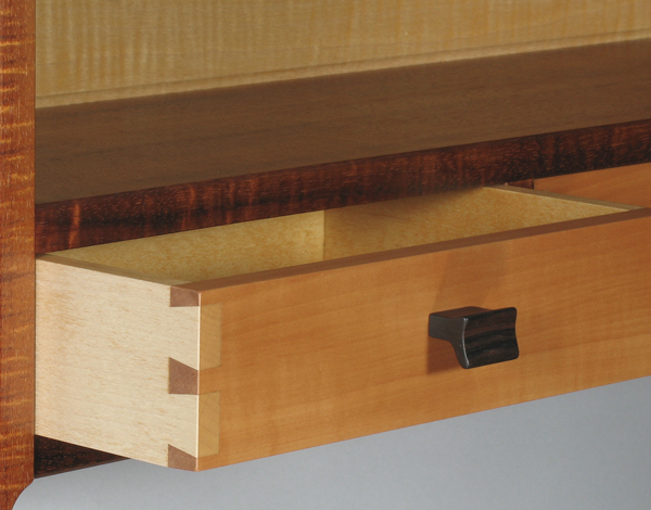 dovetails in pear and hard maple