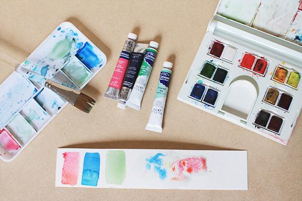 mixed media supplies watercolors