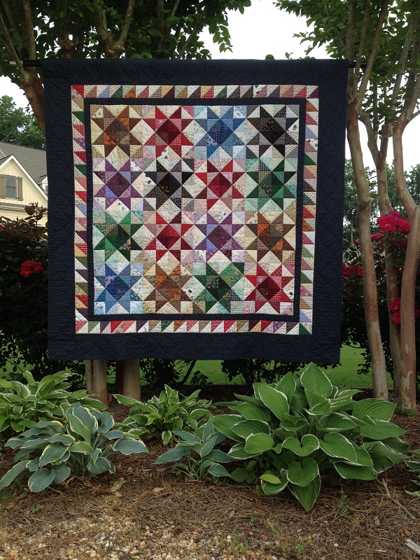 star quilt made from half-square triangle block exchange