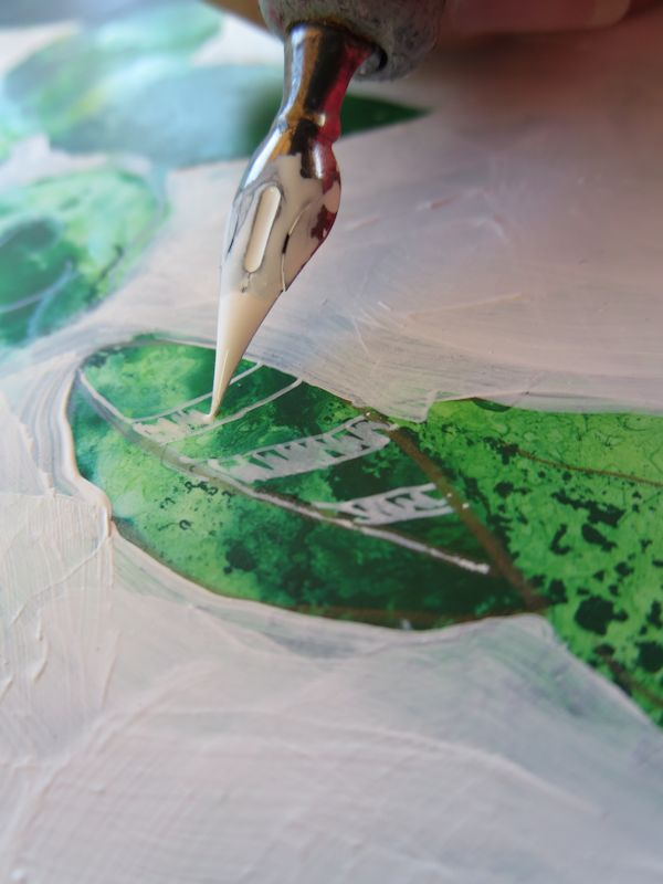 Leaf detail with white ink