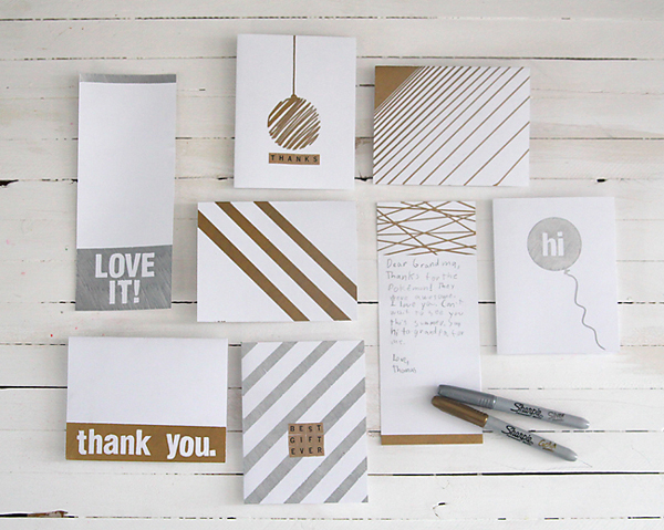 Silver, Gold and White Handmade Cards
