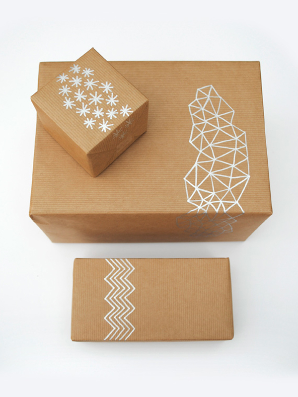 Brown Paper Gift Wrap with Metallic Design