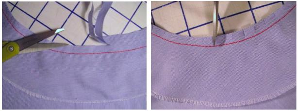 Attach the facing or bias strip facing & trim seam allowance