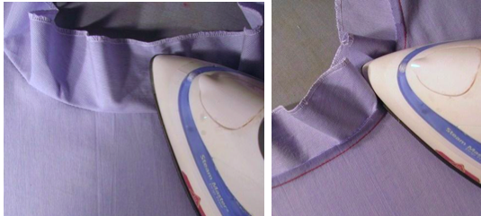 Press the facing away from the garment as much as possible