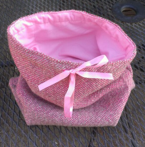 Pink Pouch Made with Hand-Woven Fabric