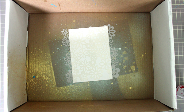 Placing Stencil and Card Stock in a spray box