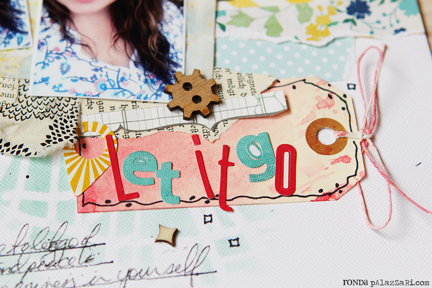 Letter Embellishments on Scrapbook Page