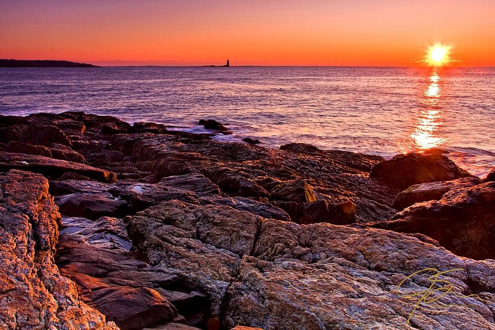 Sunrise over the rocky New Hampshire seacoast
