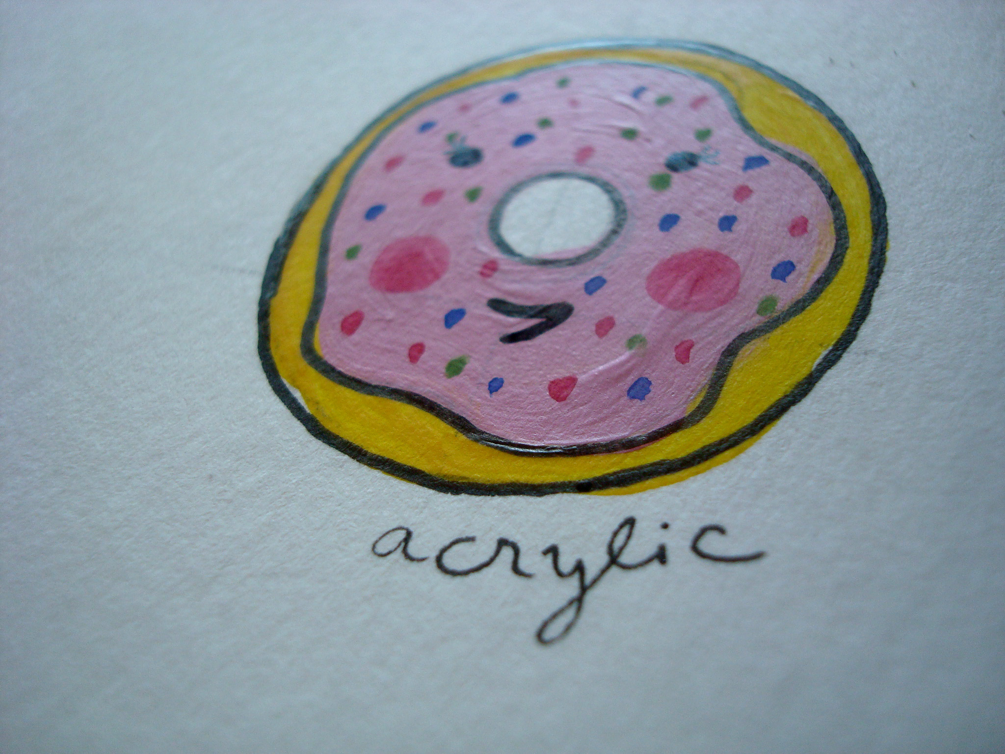 Donut colored with acrylic