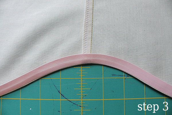 Bias tape on a curved hem