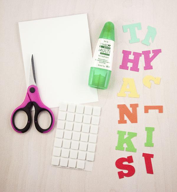 DIY Color Block Thank You Card (Materials)