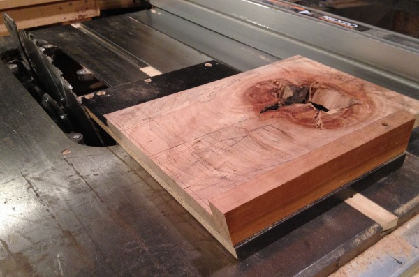 Using a crosscut sled to cut the back at 75 degrees
