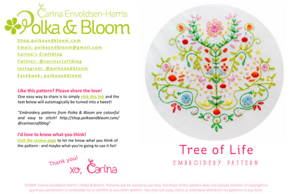 Tree Life Embroidery Pattern