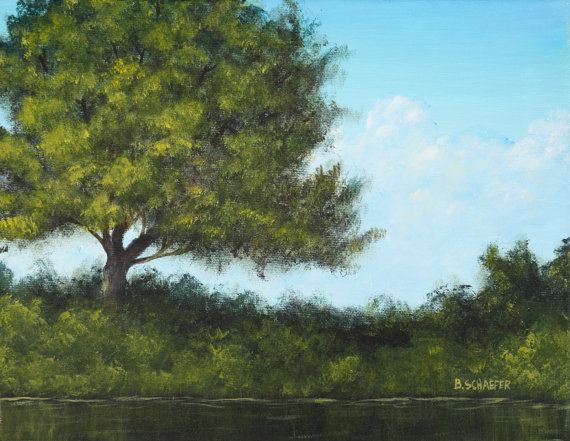Painting trees in acrylics